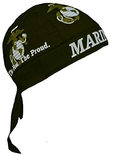 USMC Marine Corps Black Gold Logo Made in USA America Head Wrap Sweatband Biker Durag (Marine Motorcycle Helmet)