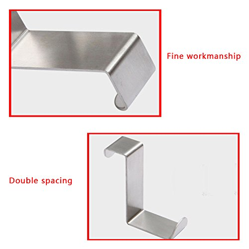 30%OFF Over Door Hooks Hanger,eBerry® Stainless Steel Cabinet Hooks Reversible Over the Door Drawer Hangers Removable Cubicle Coat Pants Clothes Towel Handbag Hats Organizer Space Saving Z-type 2 Pack Silver