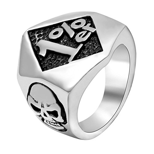 Ring Motorcycle - enhong Men's Skull Stainless Steel Rings 1% er One Percenter Outlaw Biker Ring Motorcycle Club US 7-15 Birthday Silver Size 13