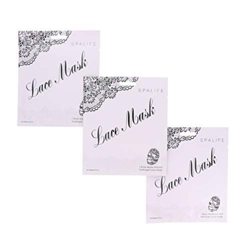 SpaLife Anti-Aging Hydrating Rose Water Infused Hydrogel Lace Facial Mask - 3 Masks