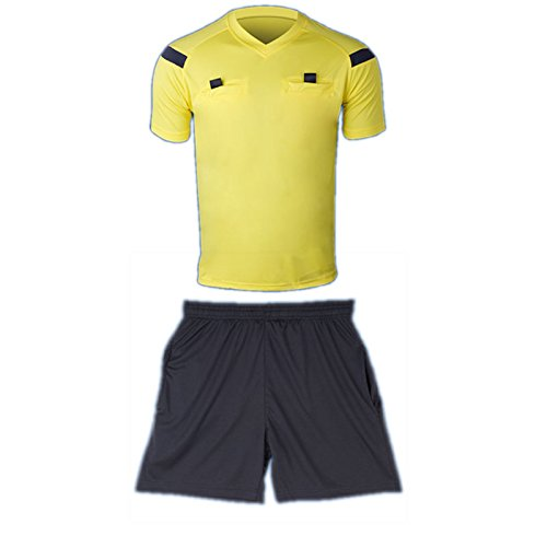 COOLOMG Men's Soccer Sport Climacool Short Sleeve Referee Shirt Jersey Top Shorts New Yellow 3XL