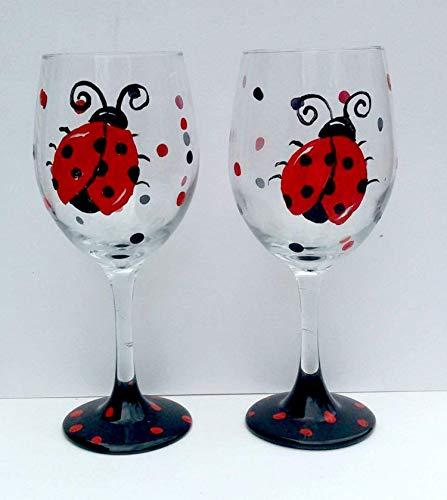 2 Ladybug Hand Painted Stemmed Wine Glasses ()