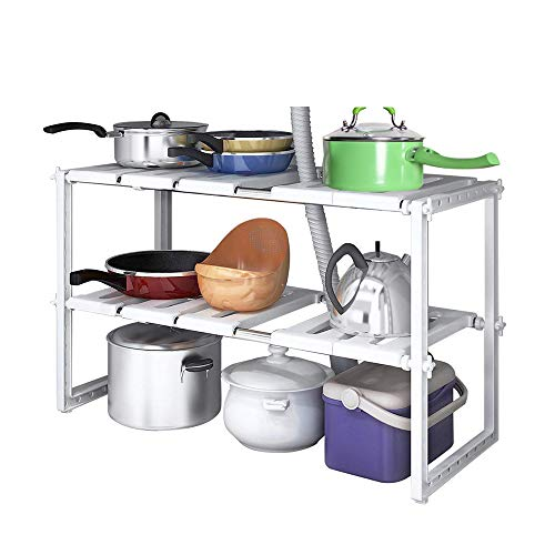 (Home-Neat 2 Tiers Expandable Kitchen Storage Multi-Functional Rack Adjustable Stainless Steel Under Sink Organizer Storage Shelf Cabinet)