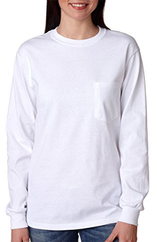 GILDAN Adult Ultra CottonTM Long-Sleeve Pocket T-Shirt>S White 2410