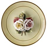 Capodimonte Porcelain Figurine Flowers On Plate with Stand
