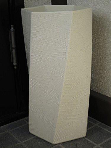 【陶器傘立て】【日本製】【信楽焼】 白ひねり 六角 傘立て B00DOVE418