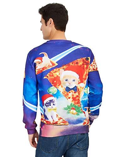 RAISEVERN Unisex Hässliche Weihnachtsstrickjacke Galaxy Raum Cat Print Casual Sport Gym Sweatshirt Kleidung für Frauen Männer