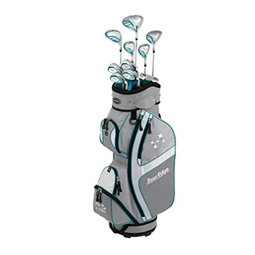 Tour Edge Lady Edge Golf Complete Package Set (Ladies, Right Hand, Graphite, Ladies, Full Set), Silver/ Teal, Full Set