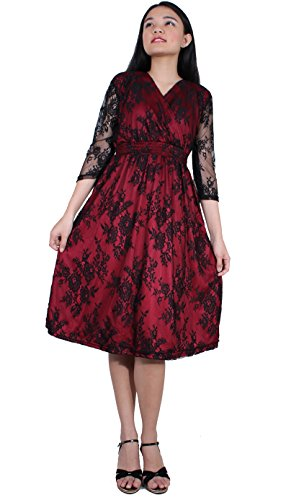 Women Vintage Floral Lace Wedding Party Formal Evening Cocktail 34