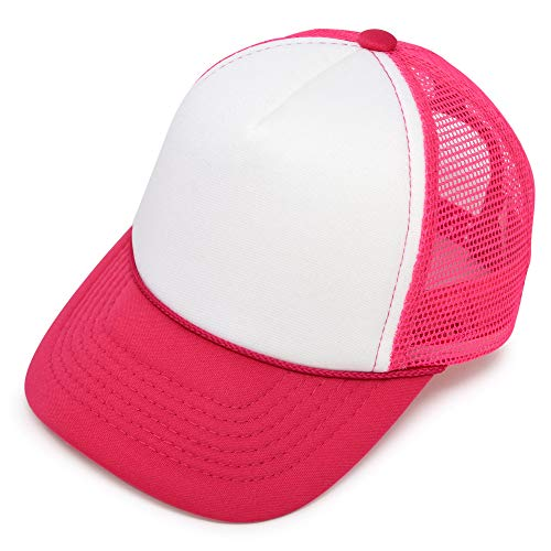 DALIX Infant Trucker Hat Baby Cap Tiny Extra Small Girls in Hot Pink White