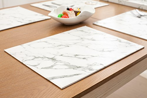 Placemats set of 4 Firm Faux Leather PU, 16″x12″ Heat & Stain Resistant Easy to Clean (Marble)