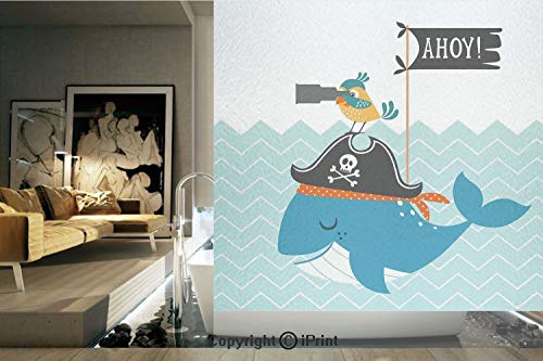 - Decorative Privacy Window Film/Ahoy Whale with a Pirate Hat Bird Binoculars Zig Zag Waves Flag Nautical Modern Decor Print Decorative/No-Glue Self Static Cling for Home Bedroom Bathroom Kitchen Office