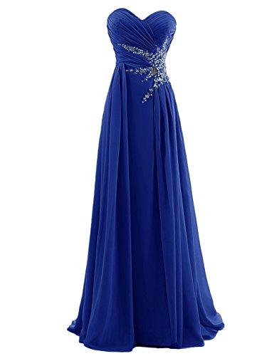 Kiss Girls Women's Sweetheart Beading Chiffon Long Prom Dress US6 Royal Blue