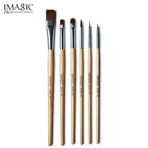 CYNDIE Wooden Handle Makeup Brushes 6 Pcs/Set for Halloween Body Face Paint ()