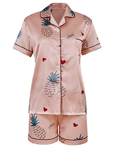 Women Classic Floral Print Silky Button Down Short Sleeve Night Pjs Set(Pink,M) ()