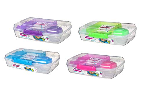 Bento Box TO GO - Reusable Lunch Box Containers for Kids & Adults  Great for Work, Home, School, Meal Prep, Portion Control - Phthalate & BPA Free  59.51oz (4 Pack)