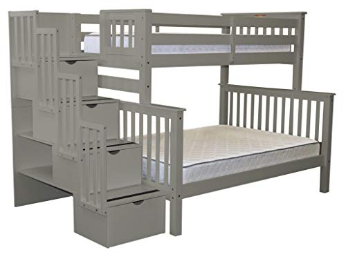 Bedz King Stairway Bunk Beds Twin over Full with 4 Drawers in the Steps, (Twin Over Full Stairway)