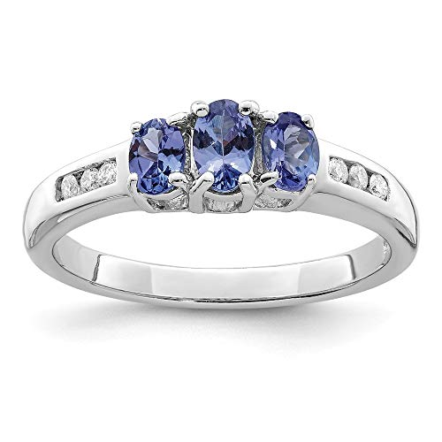 - 925 Sterling Silver Blue Tanzanite Diamond Band Ring Size 8.00 Stone Gemstone Fine Jewelry Gifts For Women For Her