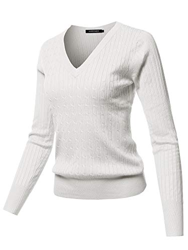 (Solid V-Neck Long Sleeve Viscose Nylon Cable Knit Sweater Top Ivory S)