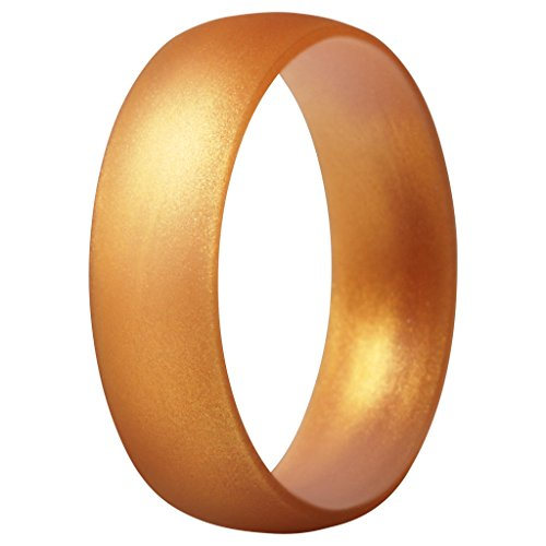 ThunderFit Silicone Ring Wedding Band for Men & Women - 1 Ring (Gold, 9.5-10 (19.8mm)) (Mens Rings Size Gold)