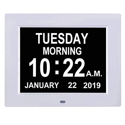 - TMC [Newest Version] Digital Calendar Day Clock -Extra Large Impaired Vision Memory Loss Clock with 12 Alarm Options for Seniors, Elderly, Dementia, Alzheimer (8-inch,White)