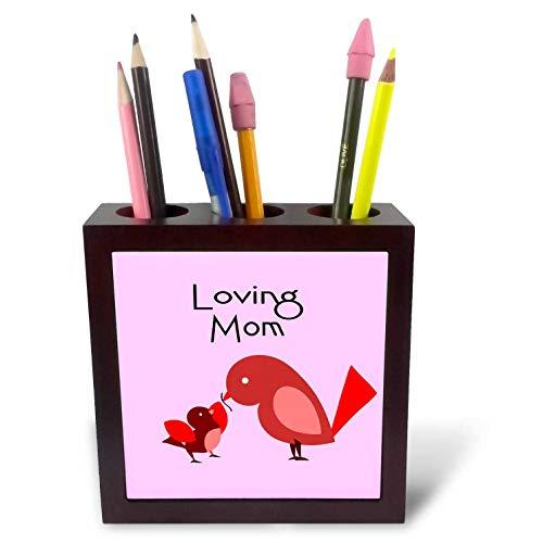 3dRose Amar Singha Art - Bird - A Little Cute Bird with Mom. - 5 inch Tile Pen Holder (ph_289488_1)