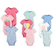 Carter's Baby Girls' 9-Pack Grow With Me Bodysuit Set, Flower Heart, NB-3M-6M
