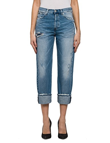 REPLAY Women's Women's Blue Crop Jeans in Size 25W 28L Blue (Women Jeans Replay)