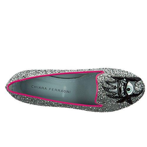 Chiara Ferragni Glitter Ballet Ballerinas Flats Women's Silver q6SwP1q