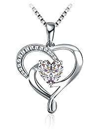 "Heart-Shape Sterling Silver Fashion Pendant 18"" Silver Box Chain Necklace for Women Christmas Jewelry Gifts"