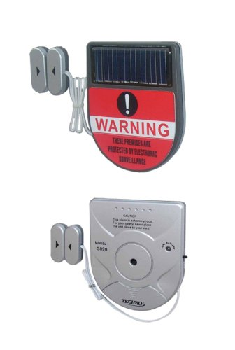 Techko S090 Indoor Magnetic Sensor Entry Alarm, Solar Powered, Ultra Slim Design