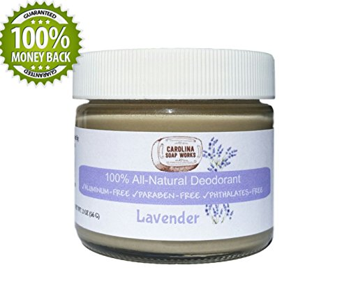 BEST All-Natural Handmade Deodorant by Carolina Soap Works, No Aluminum, No Parabens (Lavender)