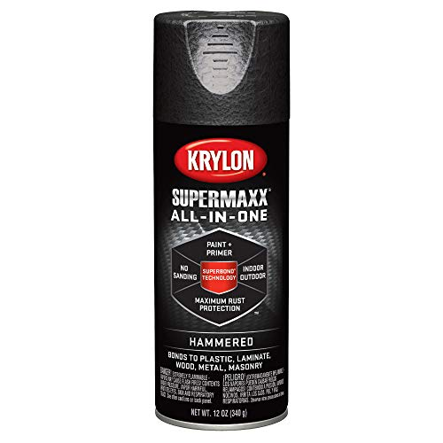 Krylon K08985000 SUPERMAXX All-In-One Spray Paint, Black Hammered, 12 Ounce