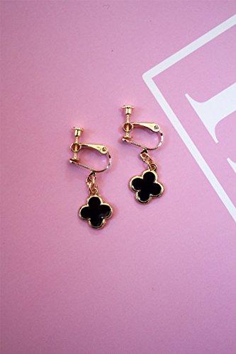 Mini Clover No Pierced Ear Clip Earrings Earring Dangler Eardrop Hypoallergenic Gift Woman Fashion Creative Ladies (Mini Black Four-Leaf Ear Clip