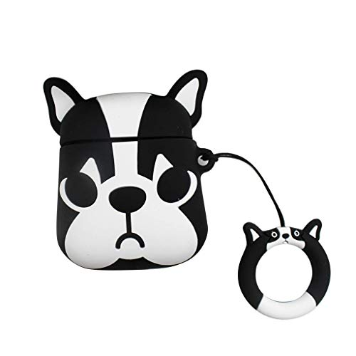 (Sodoop for Airpods Case, [Funny Design] Cute Dog Shockproof Soft Silicone Protective Cover Skin Case with Ring Buckle Holder Anti-Lost for Airpods 1 & 2 Charging Case)