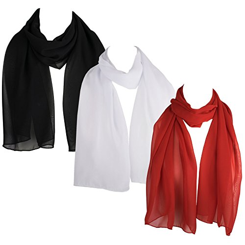 (HatToSocks Chiffon Scarf Sheer Wrap for Women Pack of 3 (White, Black, Red))
