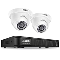 ZOSI H.265+ 1080p CCTV Camera Security System,Surveillance DVR Recorder 4 Channel and 2 x 2MP 1080p Weatherproof Dome Camera Outdoor/Indoor, Remote Access, Motion Detection (No Hard Drive)