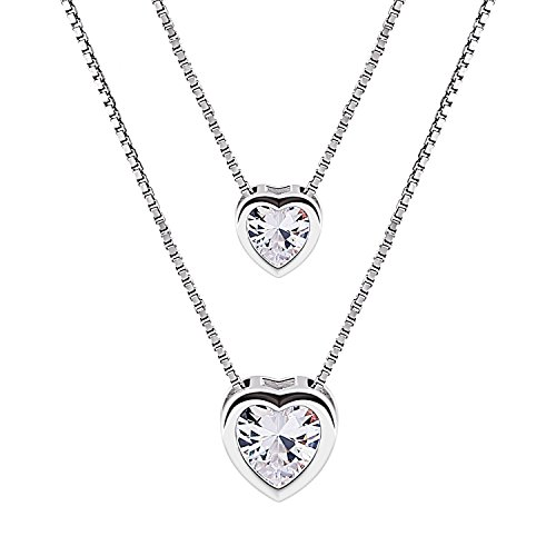B.Catcher Kette-Set Damen 925 Sterling Silber Zirkonia Halskette mit Doppel-Herz Anhänger Schmuck mit Etui