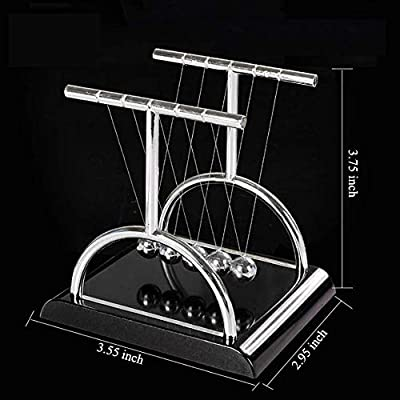 Rosmall T-shape Physics Science Pendulum Newton's Balance Cradle Metal Steel Ball Desk Table Decor Black Base Small: Beauty