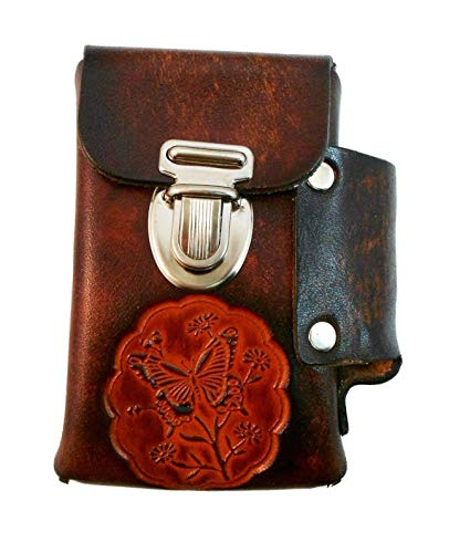 Hand Crafted Leather Cigarette Case, Lighter Pocket, Many Tooled Designs, Free Personalization ()
