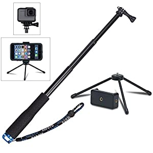 VVHOOY 43 inch Waterproof Action Camera Selfie Stick with Tripod Monopod Stand and CellPhone Clip Holder for GOPRO HERO 6/5/YI Discovery/AKASO EK7000 Sports Action Camera,Smartphones,and More