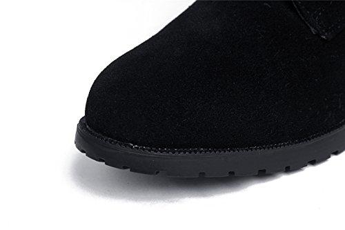 Negro Bajo Caña Sólido Shoes Botas AgeeMi Cordones Baja Tacón Mujer Suede xqvWRBX
