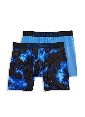 Jockey Men's Underwear RapidCool Boxer Brief - 2 Pack, Cosmos/Satin Blue, S ()