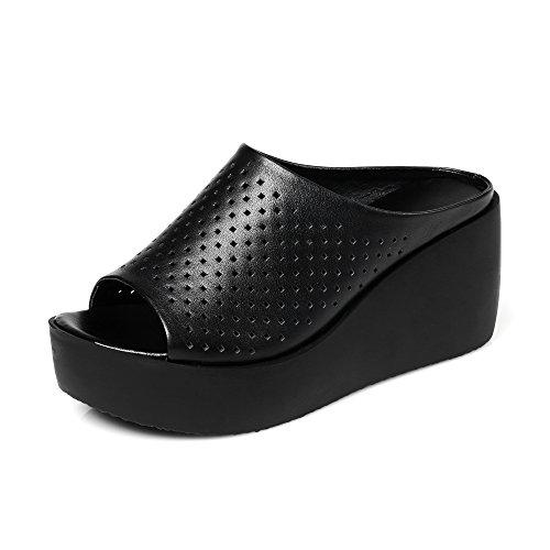 ZPPZZP Ms sandali pantofole trascina la spessa rilassatevi nel a tacco alto 39EU nero