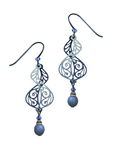 (Adajio by Sienna Sky Dusty Blue Filigree Helix Drop Earrings 7412)