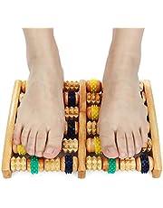 Rodillo masajeador de pies de madera dual, alivia la fascitis plantar, espolón del talón, talón y pie dolor de arco y dolor de pies, alivio del estrés, herramienta de acupresión/reflexología