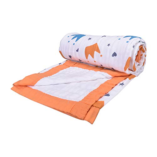 Mom's Home Organic Cotton Baby Muslin 6 Layer Blanket- 0-3 Year-100×100 cm -Crown
