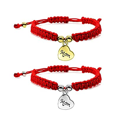 XISAOK Lucky Bracelets,Kabbalah Mom Pendant Red Braided String Bangles Mother's Day Jewelry: Home & Kitchen