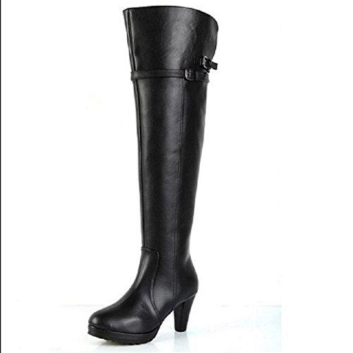 cashmere stivali gli ginocchia black spessa stivali col stivali GTVERNH alle stivali degli alto tacco invernali con gli signore una fino con HwWq1UT