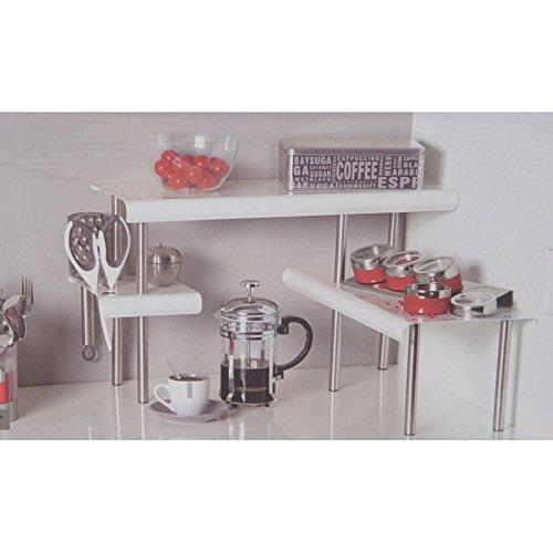 Etagère d'angle BLANCHE - pour la Cuisine - Salle de bain ou sur un bureau - Idéale pour gagner de la place Secret de gourmet